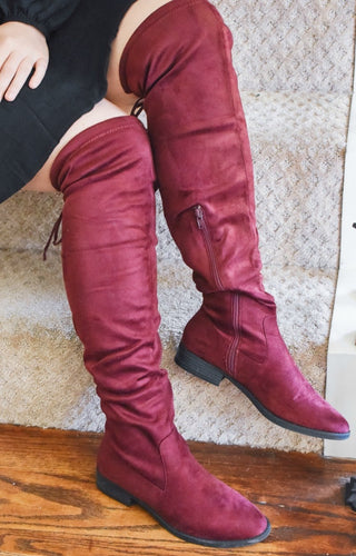 Go Getter Knee Boots - Burgundy