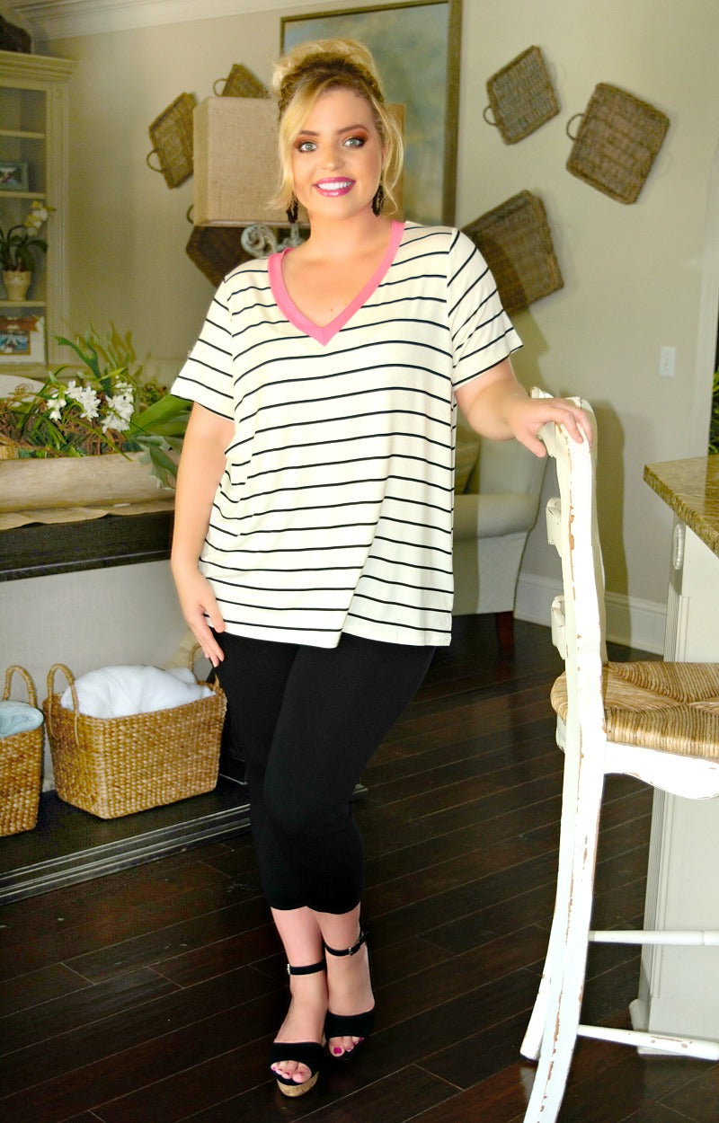 Weekend Vibes Striped Top - Ivory/Black