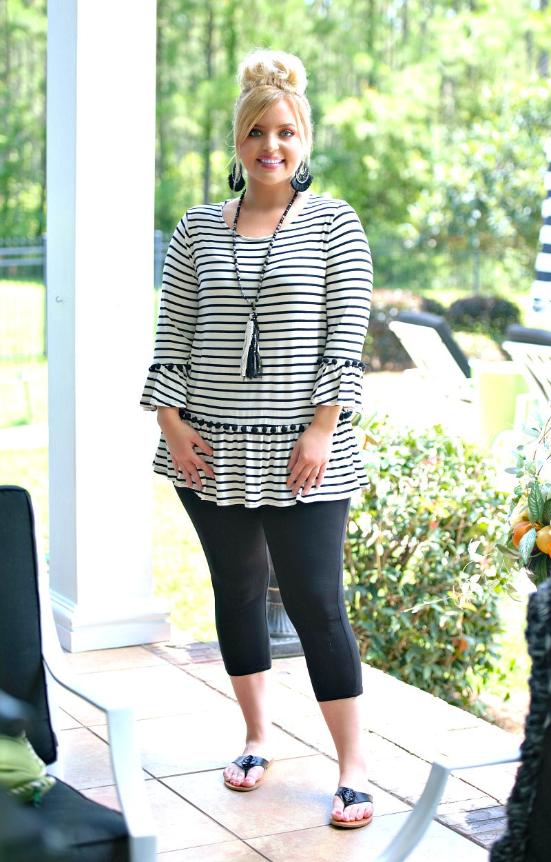 Gone For Now Striped Top - Ivory/Black