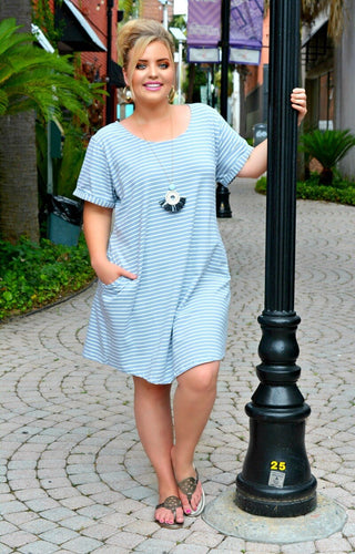 Hopes Are High Striped Dress - Blue/White