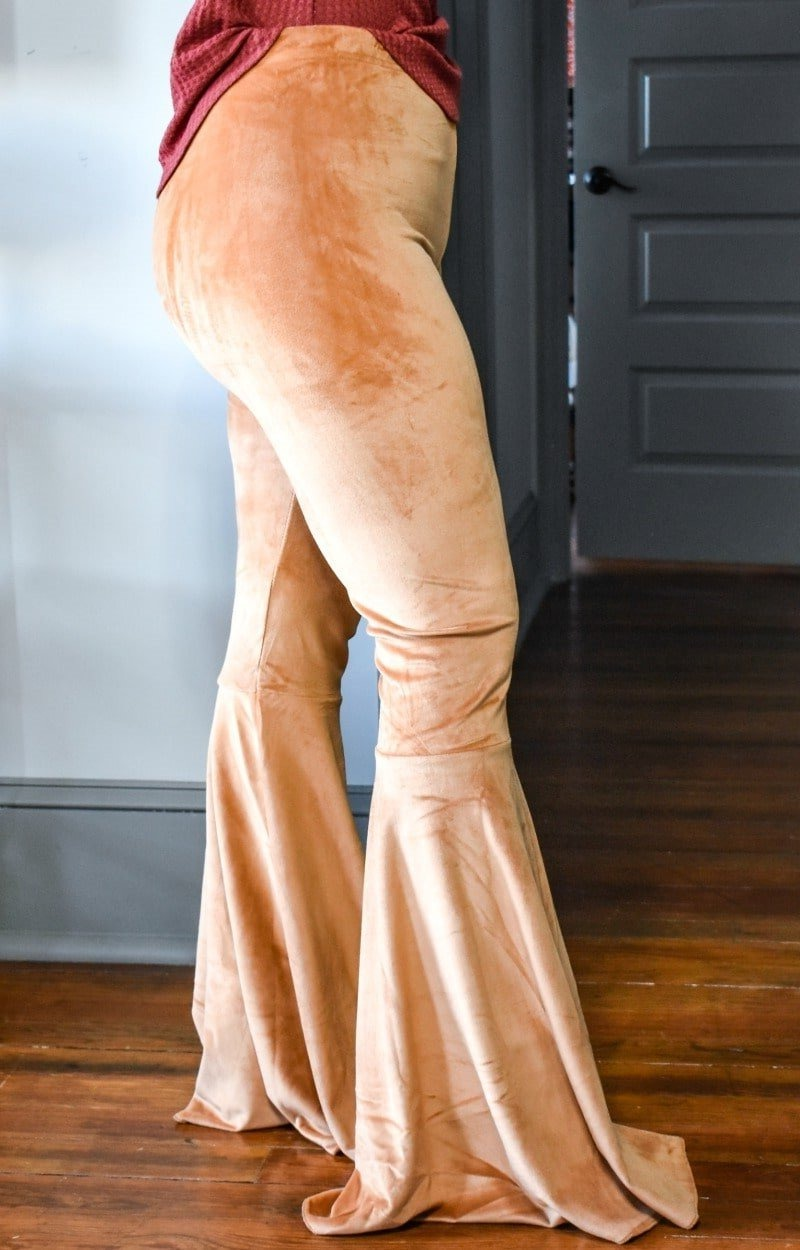 So Chic Velvet Flare Pants - Camel