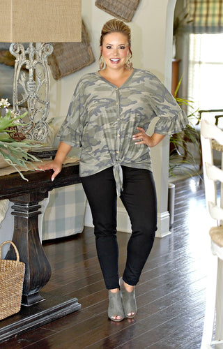Cover Me Camouflage Knot Top