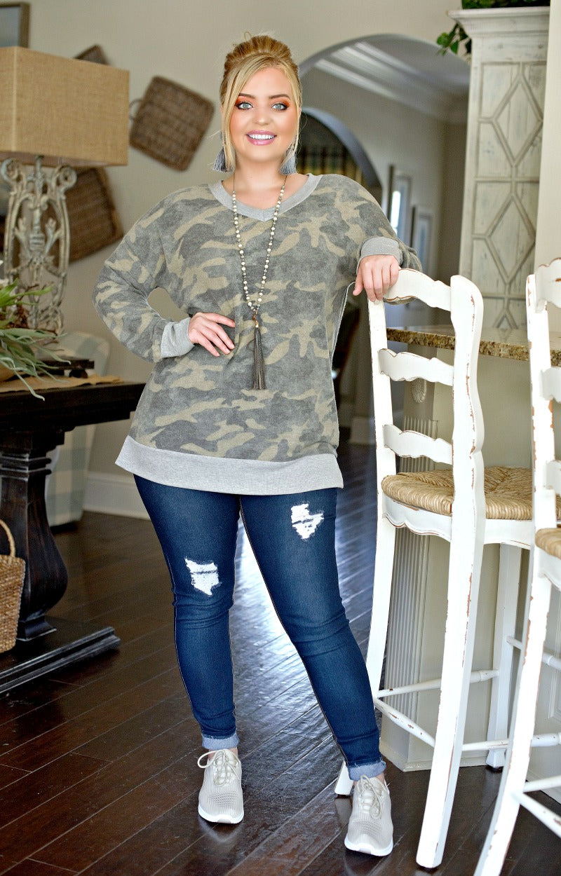 Call Me Later Camouflage Pullover