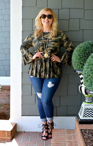 Camouflage In The City Top - Olive