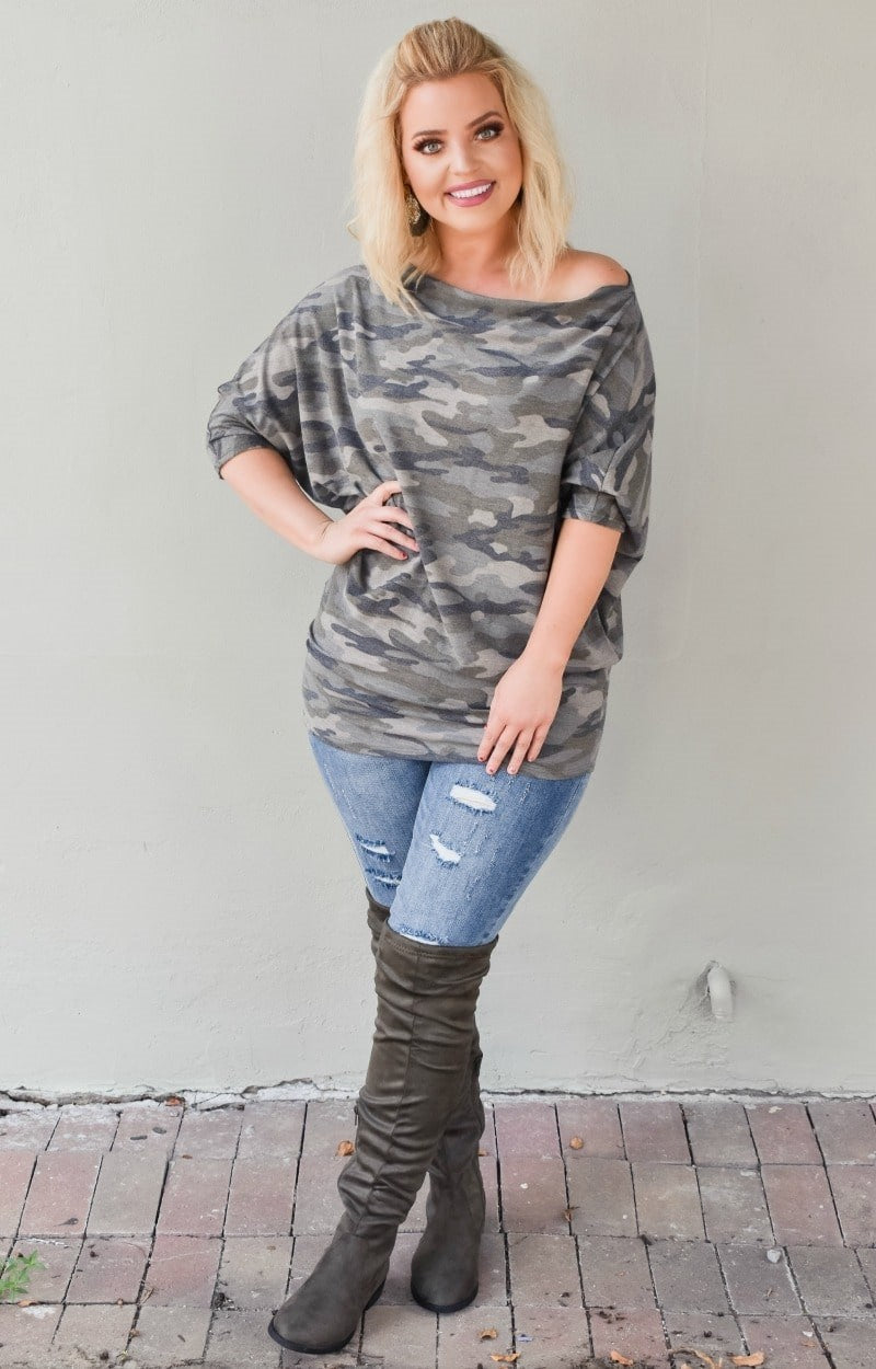Have All The Fun Camo Print Top