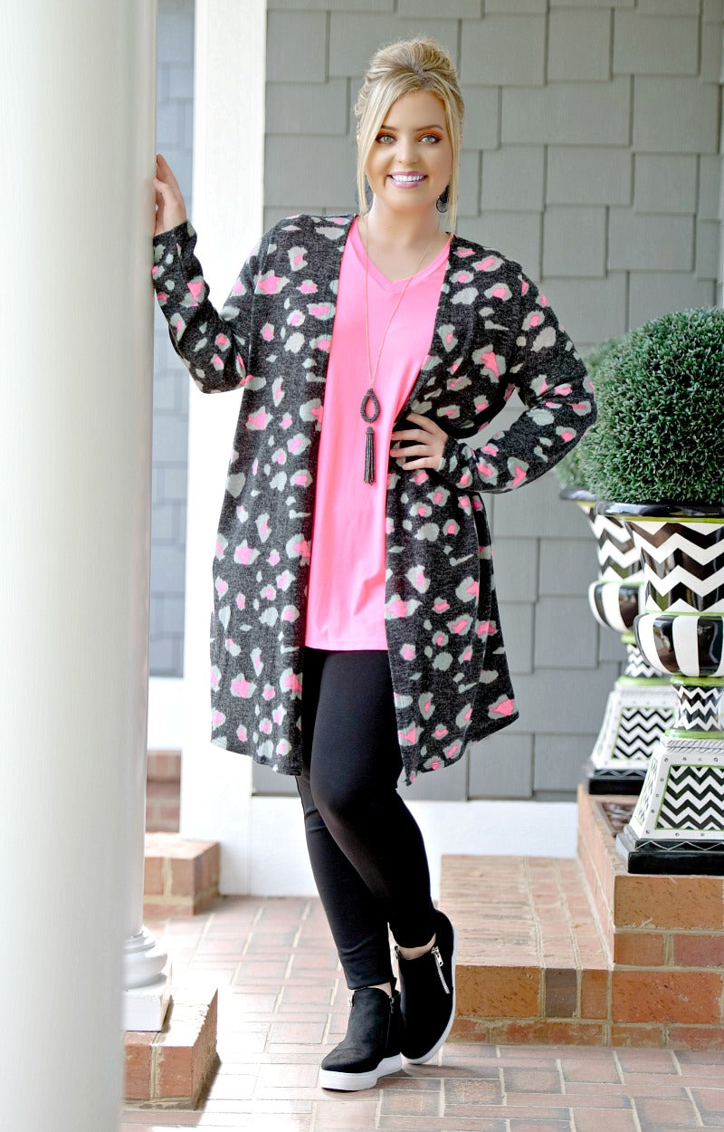 Load image into Gallery viewer, No Need To Explain Leopard Print Cardigan - Black