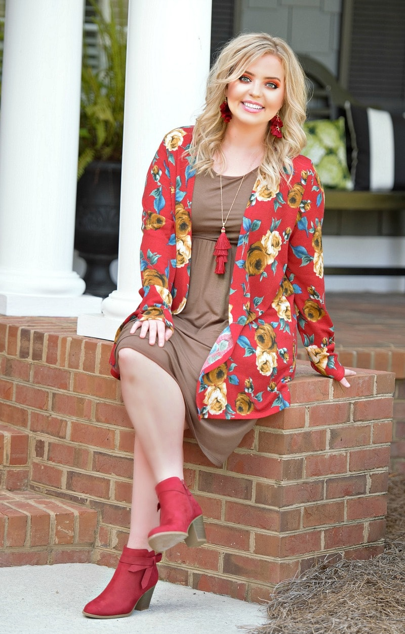 Win You Over Floral Cardigan - Red