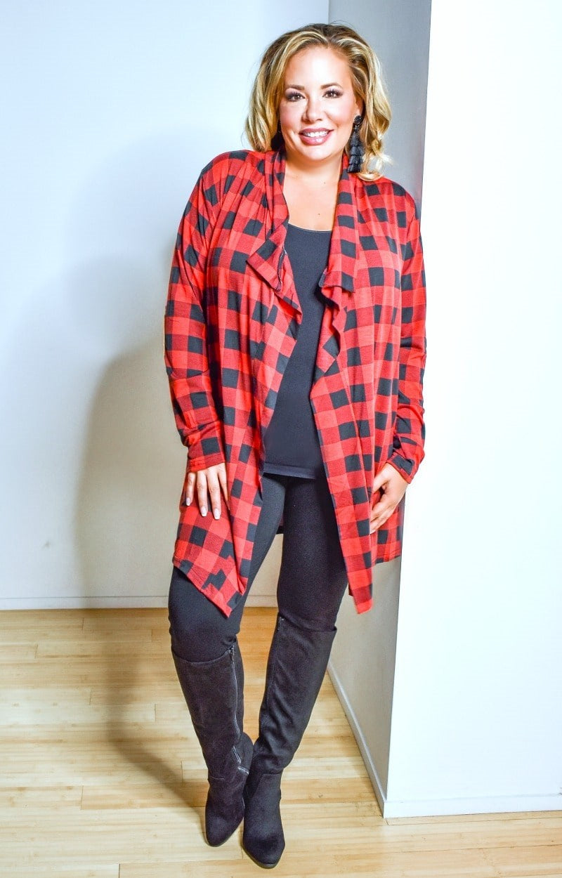 Load image into Gallery viewer, Fireside Chats Plaid Cardigan - Red/Black