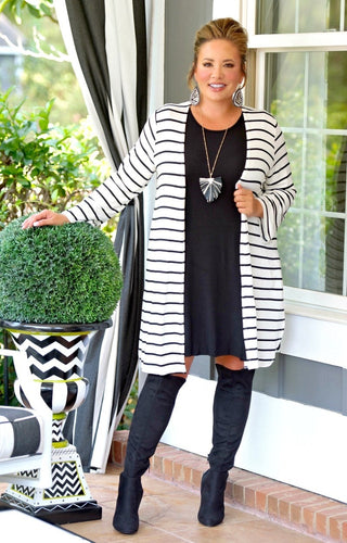 You Could Be Me Striped Cardigan - Ivory/Black