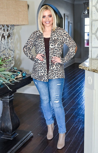Here She Comes Leopard Print Cardigan
