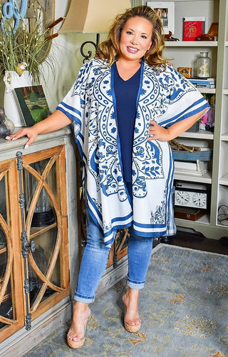 Dream Escape Print Kimono/Cover Up - White/Navy