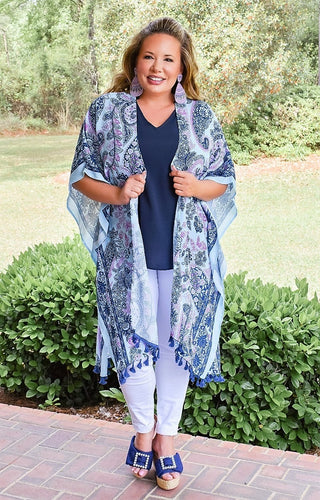 Got It Covered Kimono/Cover Up - Navy/Multi