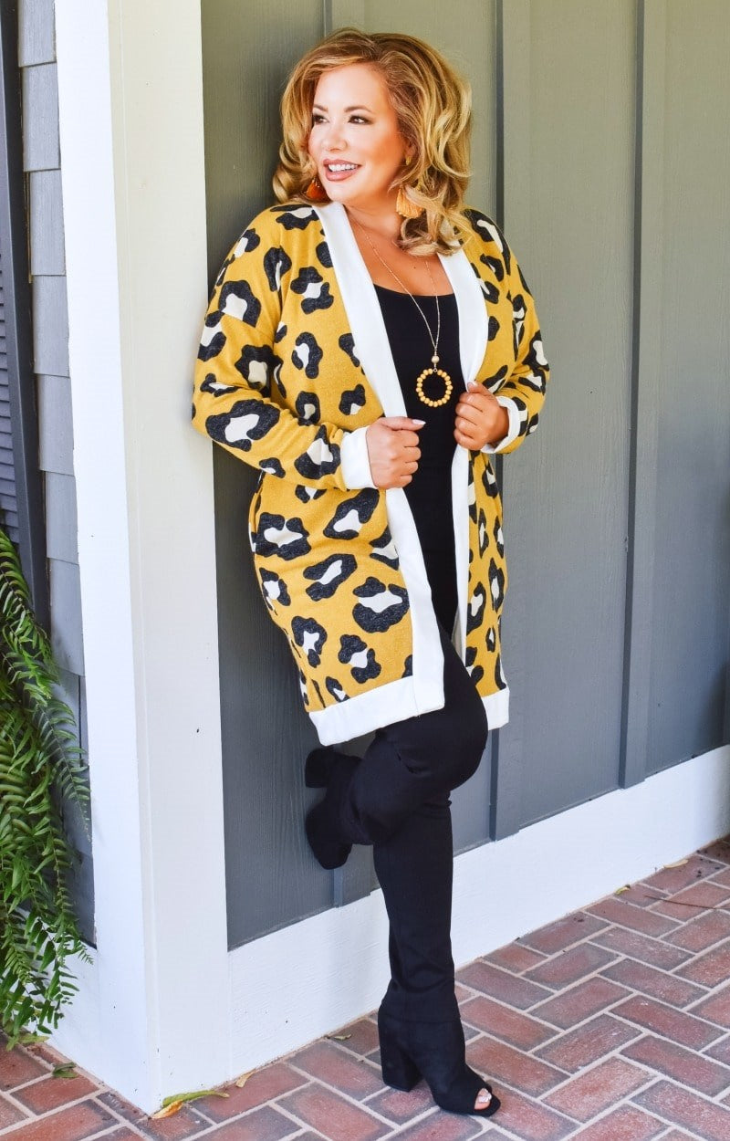 Made You Look Leopard Print Cardigan - Mustard