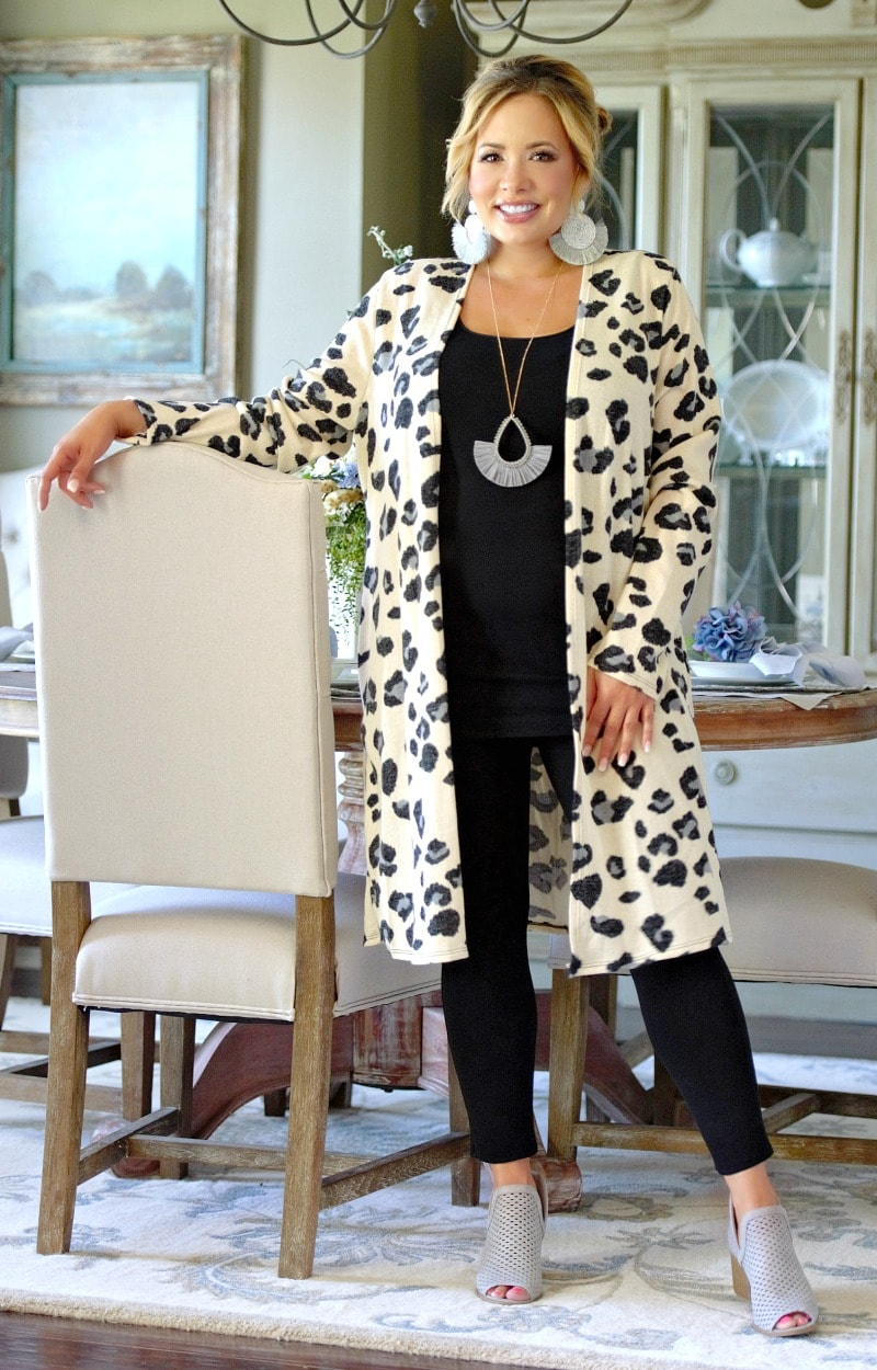 Focused On You Leopard Print Cardigan - Ivory