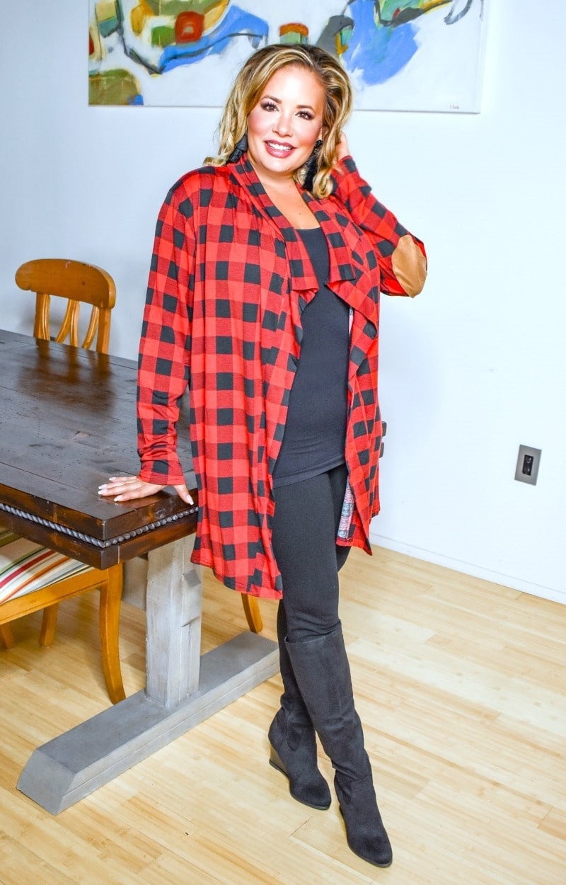 Fireside Chats Plaid Cardigan - Red/Black