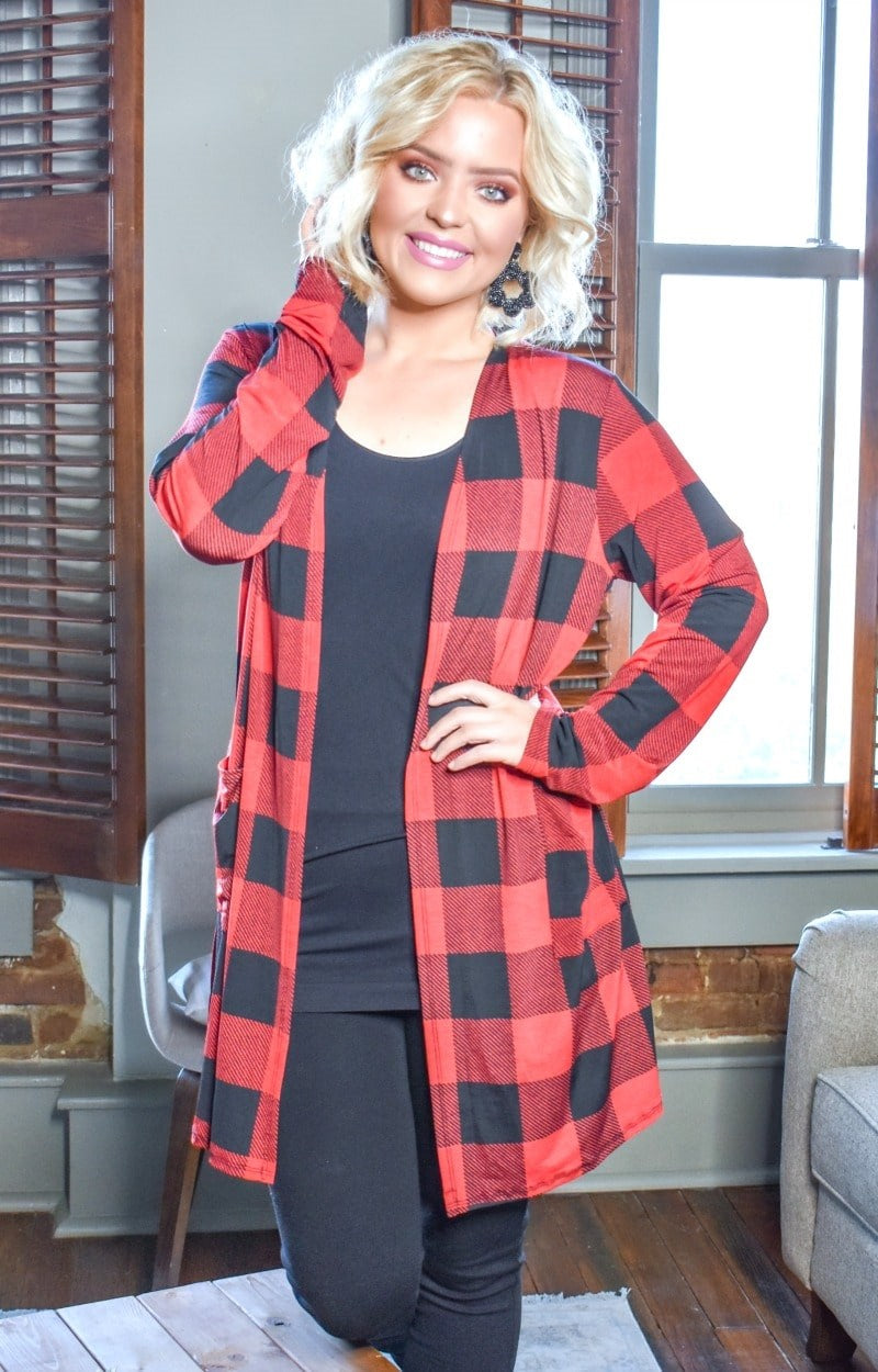 Load image into Gallery viewer, Fall Into Me Plaid Cardigan - Red/Black