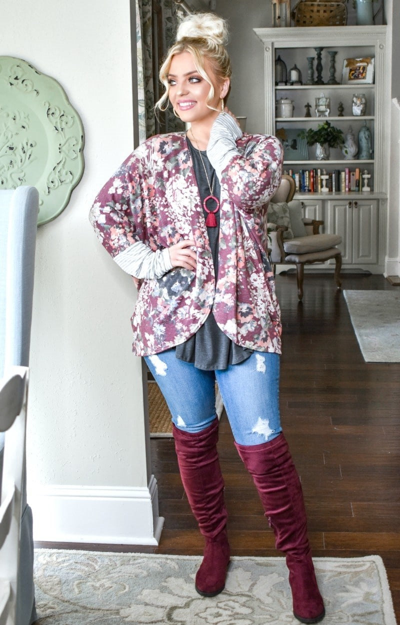 Load image into Gallery viewer, Fall Fairy Tales Floral Cardigan - Burgundy
