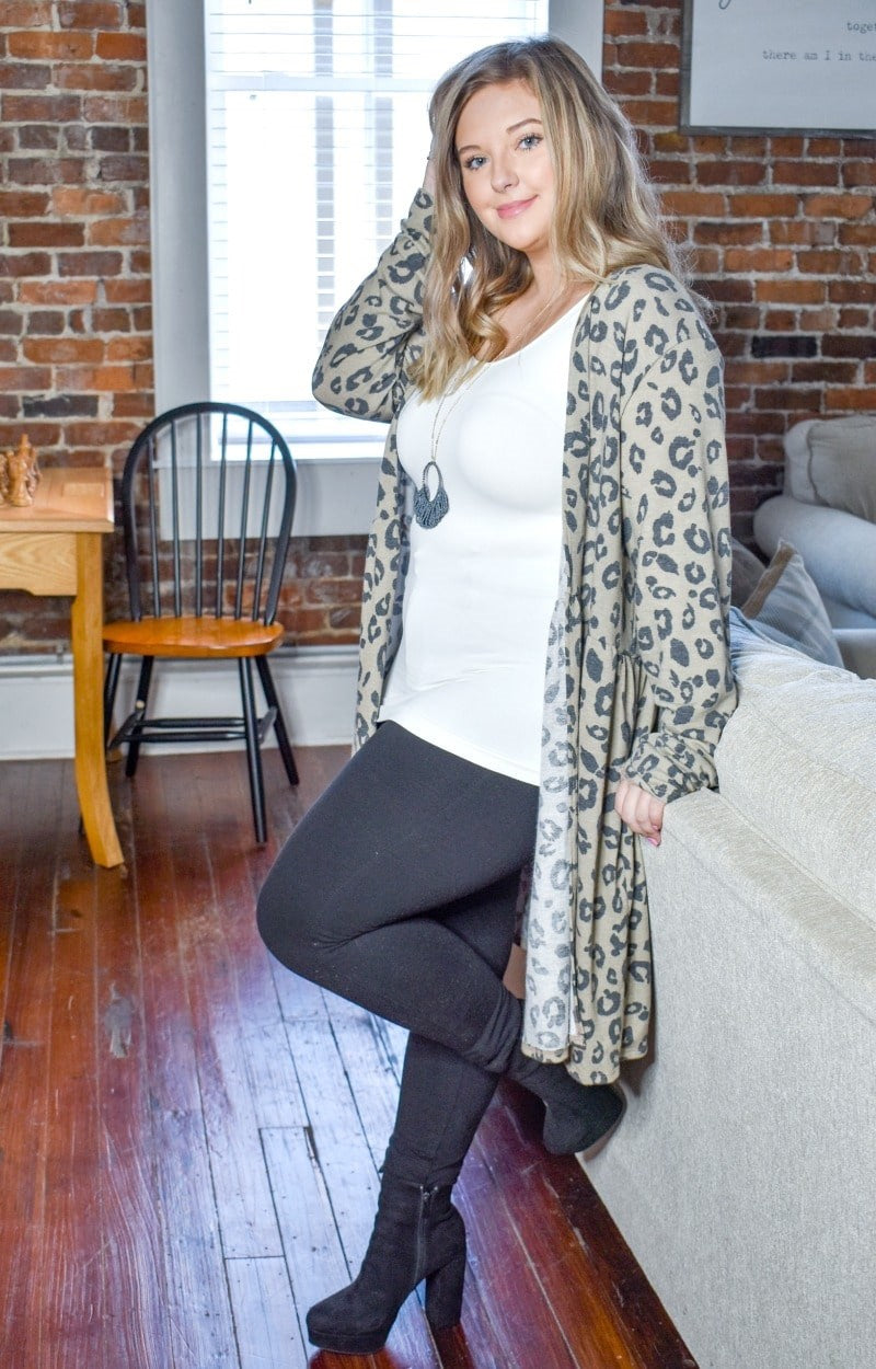 Load image into Gallery viewer, In Trouble Now Leopard Print Cardigan - Mocha