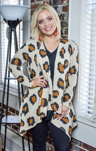 Out Of My Way Leopard Print Cardigan - Taupe