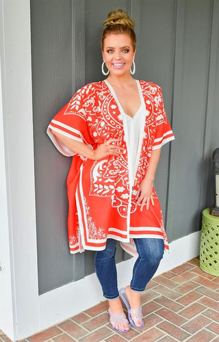 Dream Escape Print Kimono/Cover Up - Orange