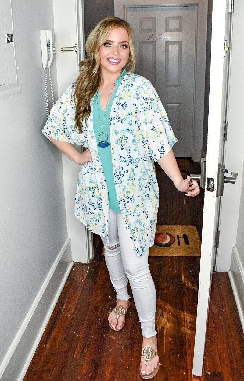 Load image into Gallery viewer, Not So Sweet Leopard Print Kimono - Turquoise/Multi