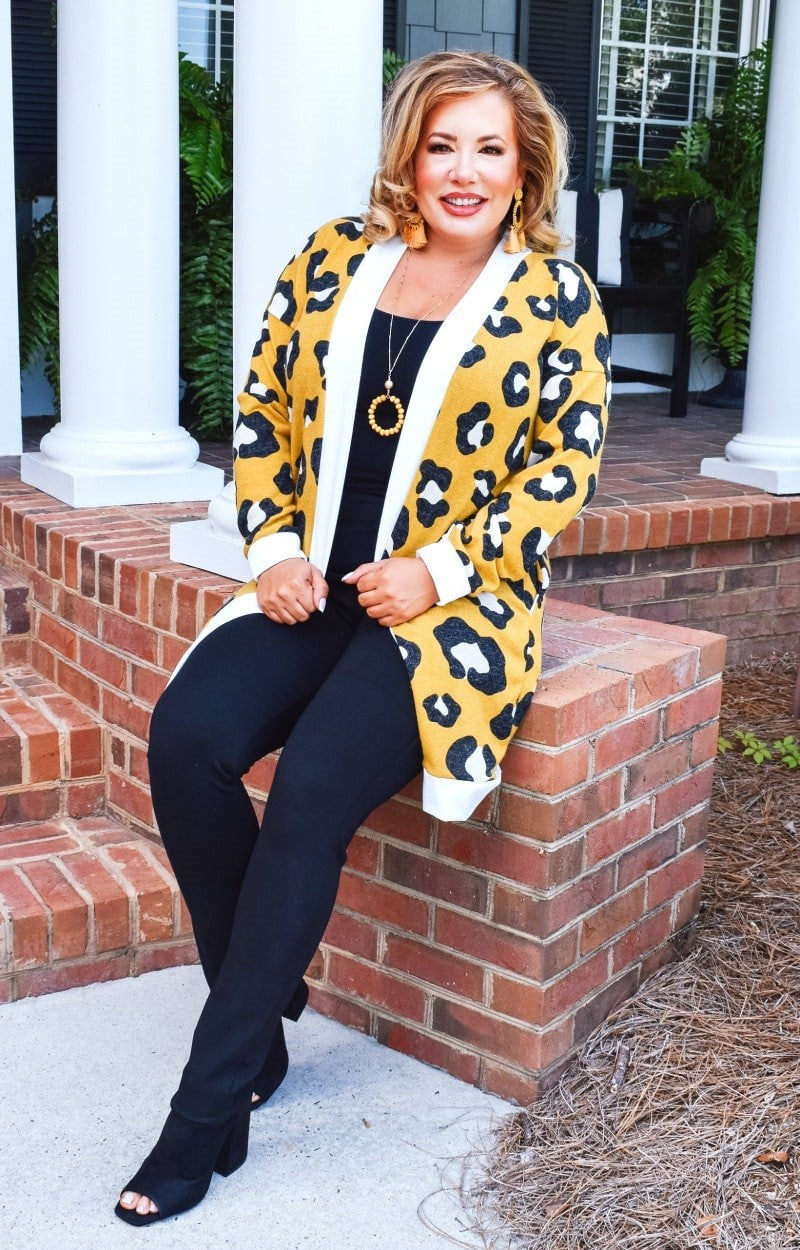 Load image into Gallery viewer, Made You Look Leopard Print Cardigan - Mustard