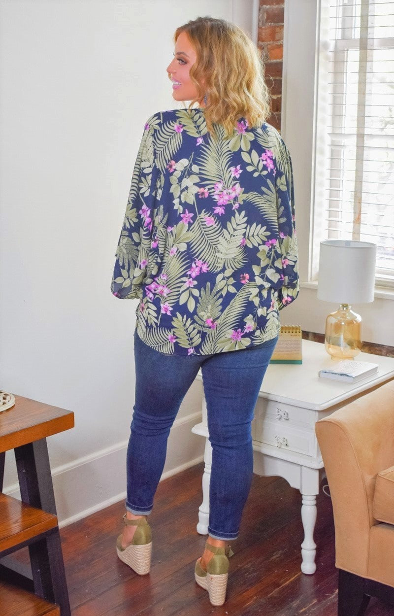 Met In Maui Tropical Print Kimono/Cover Up - Navy