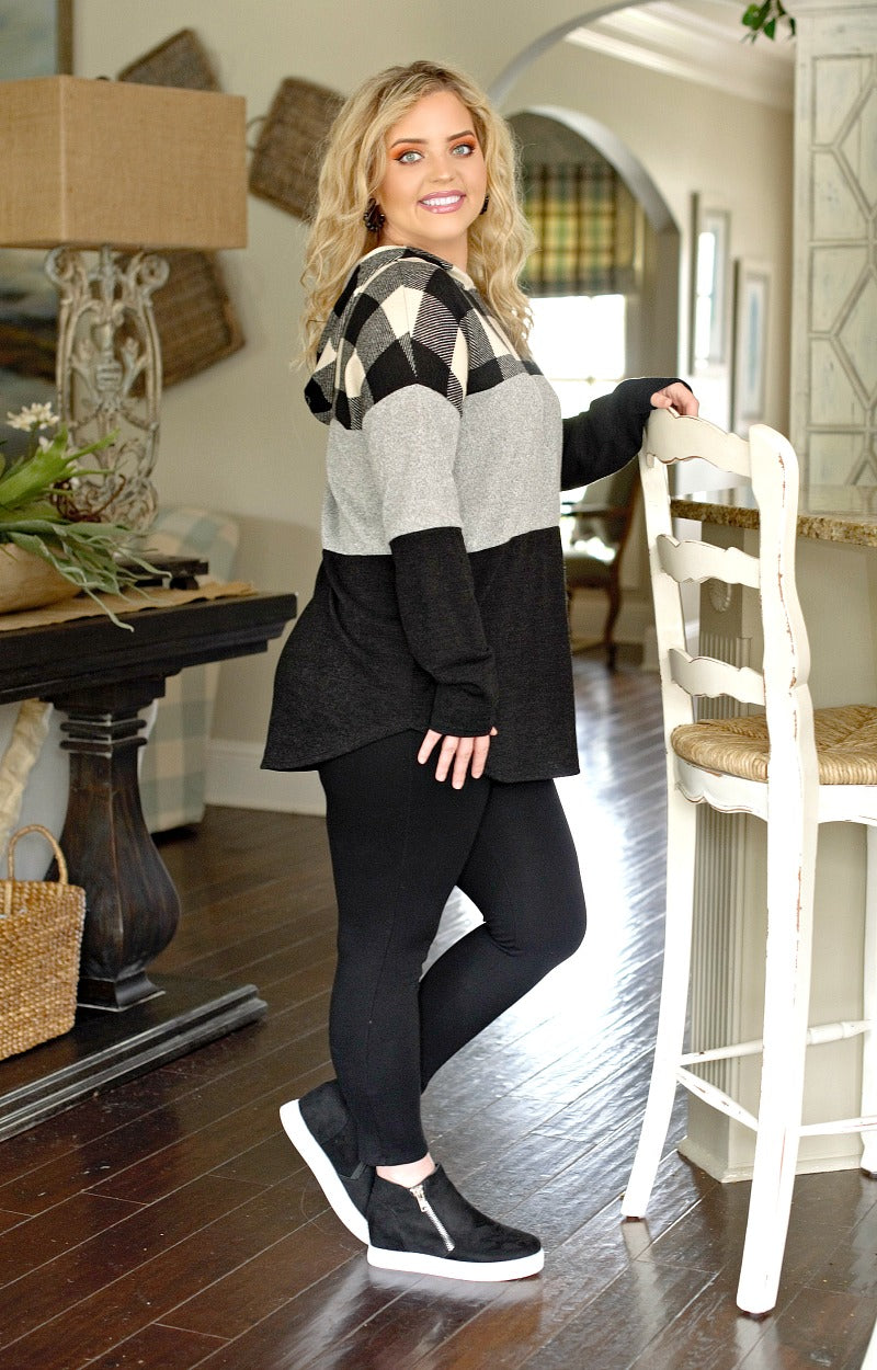 Plaid Around Hooded Colorblock Pullover - Black/Gray