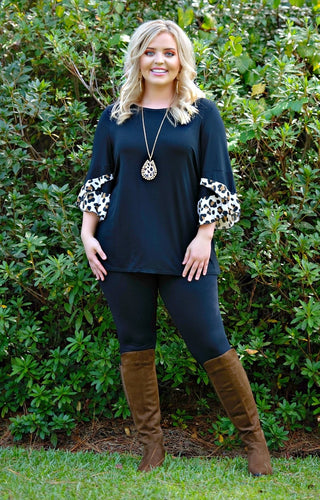 In A Minute Leopard Print Top - Black