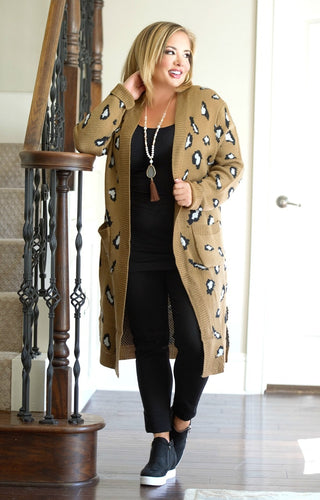 Being Extra Leopard Print Cardigan - Mocha