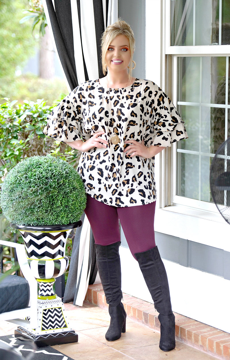 Nothing Like That Leopard Print Top - Cream