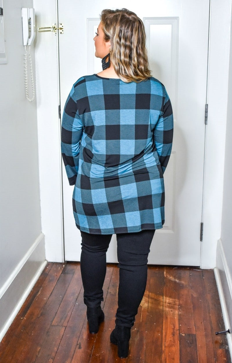 All For It Plaid Top - Black/Teal