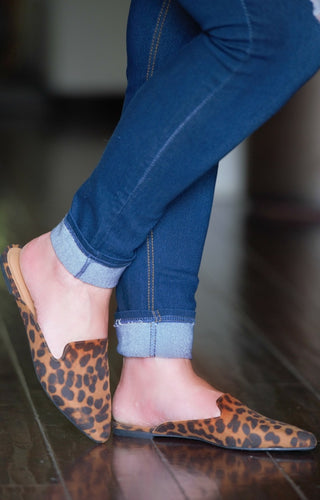 Jump Into Things Leopard Print Mules