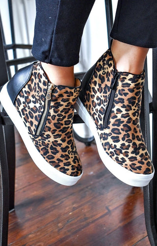 Better For Me Wedge Sneakers - Leopard/Black