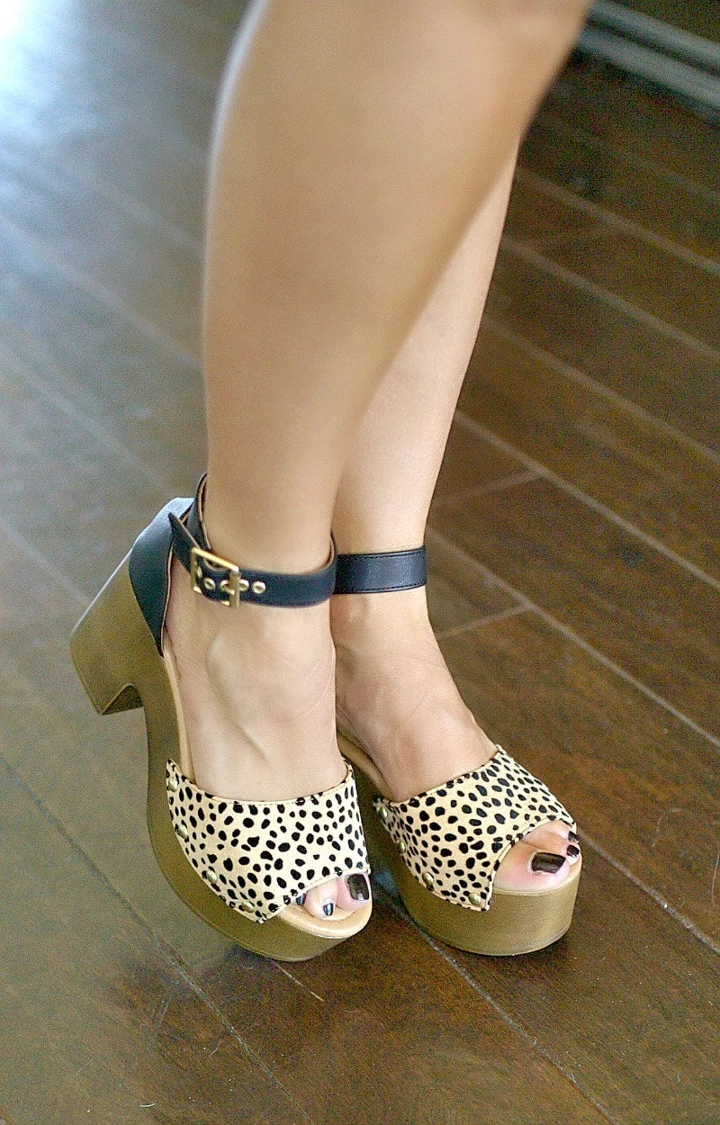 Clear A Path Leopard Print Ankle Strap Heels