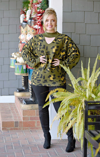 Change My Mind Leopard Print Sweater - Olive