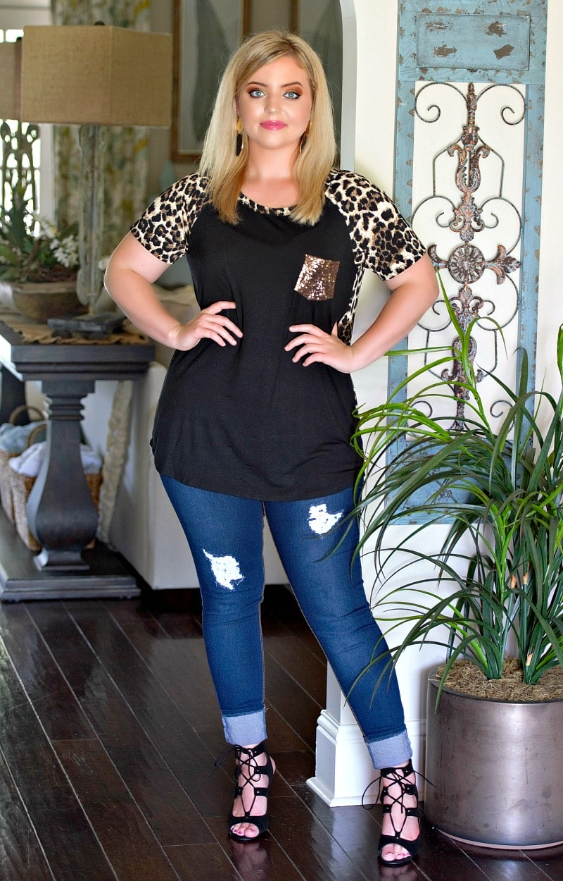 With Every Breath Leopard Print Top - Black