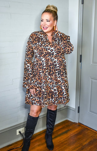 Slow Down Time Leopard Print Dress