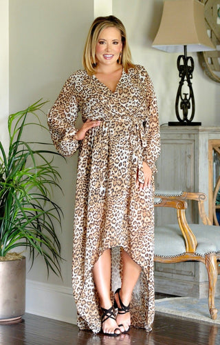 Checking Me Out Leopard Print Maxi Dress