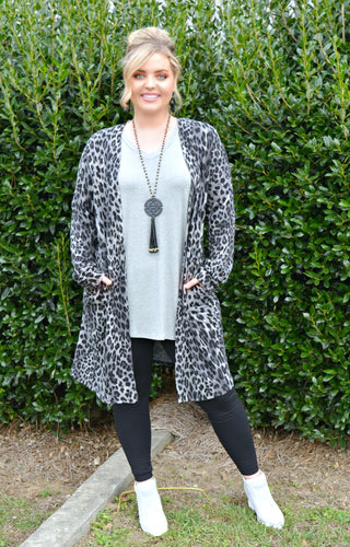Say Hello Leopard Print Cardigan - Gray/Black