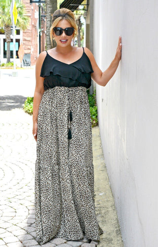 Dark Side Leopard Print Maxi Dress - Black