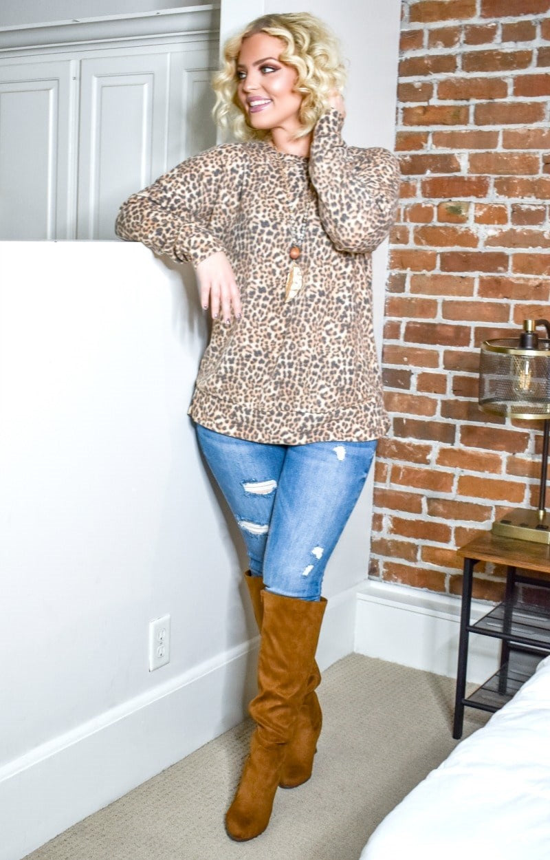 Totally Invested Leopard Print Pullover