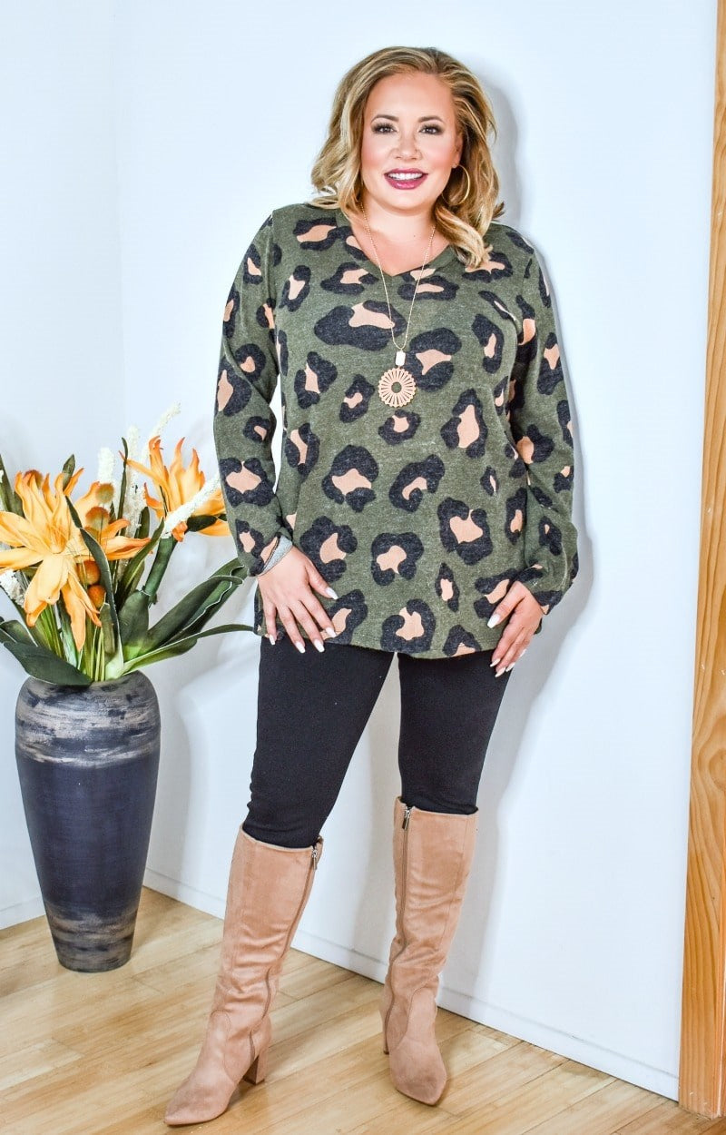 Load image into Gallery viewer, Spotted You From Afar Leopard Print Sweater - Olive