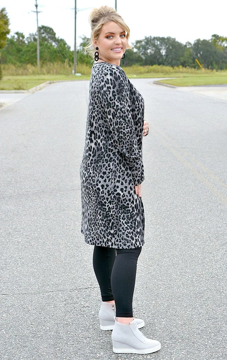 Load image into Gallery viewer, Say Hello Leopard Print Cardigan - Gray/Black