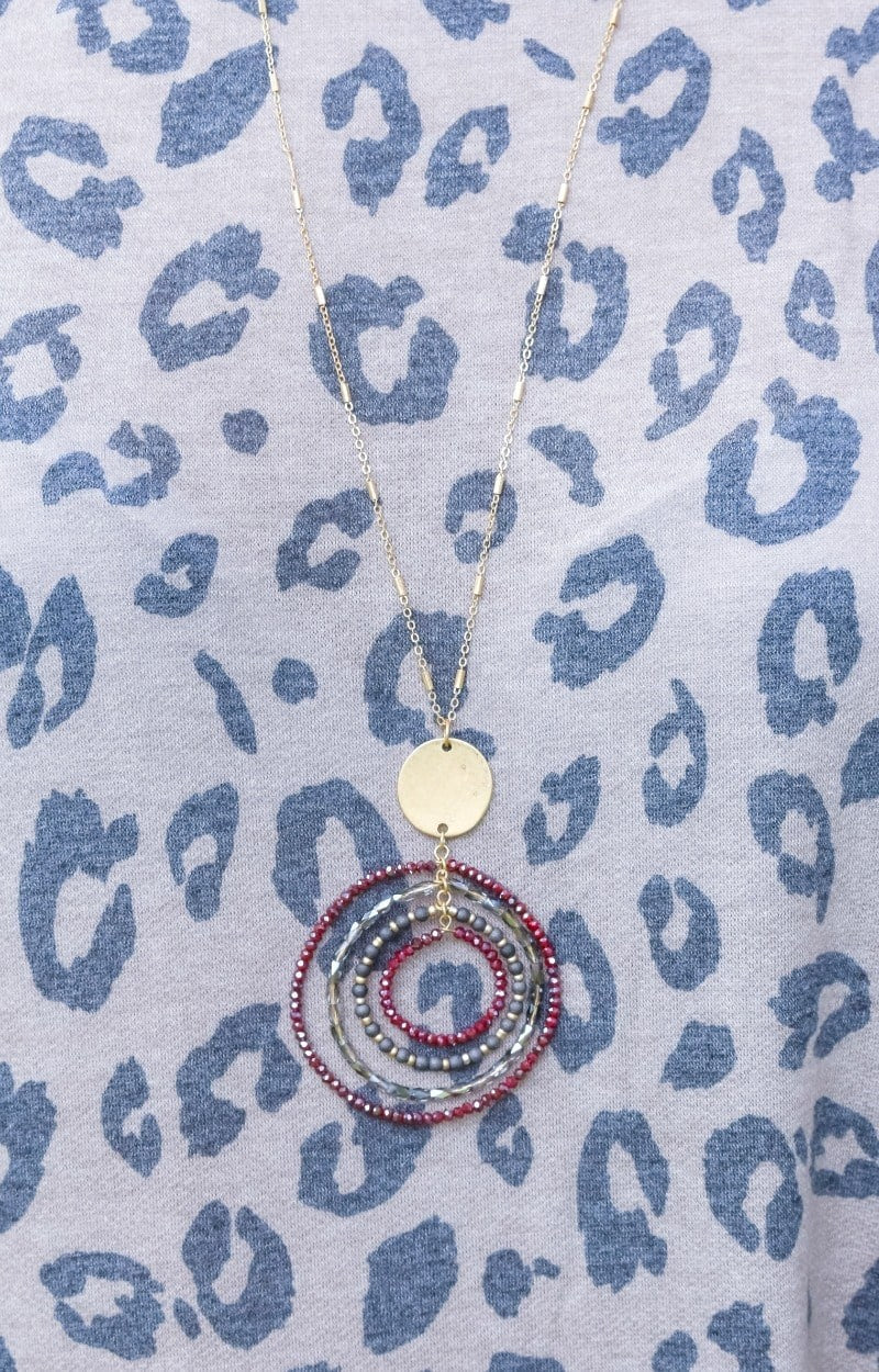 Weekend Bliss Necklace - Burgundy/Gray