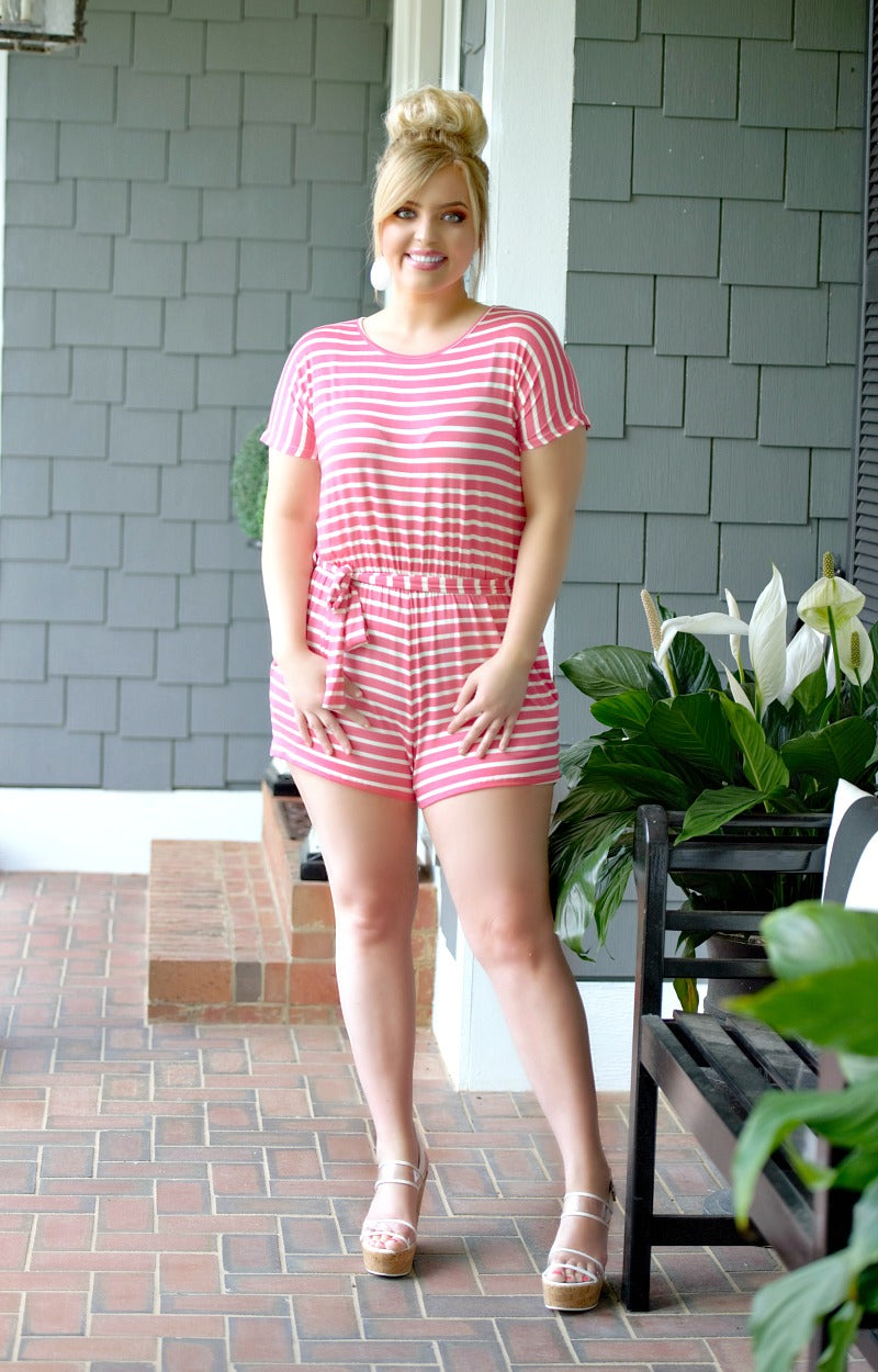Comfort First Striped Romper - Coral/Ivory