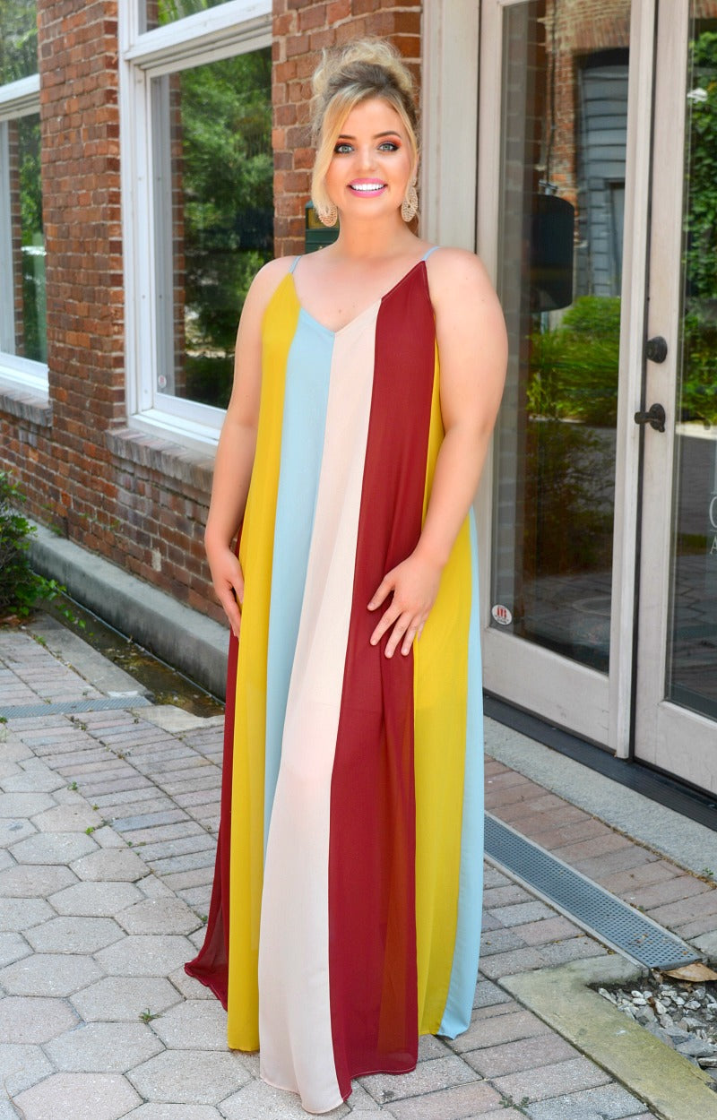 Unanswered Questions Striped Maxi Dress - Multi