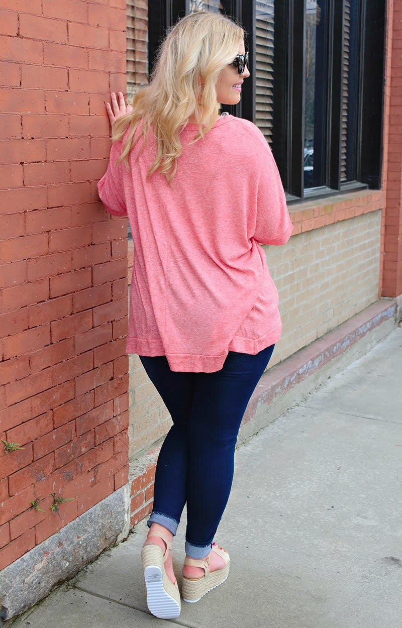 Don't Know Why Oversized Top - Coral