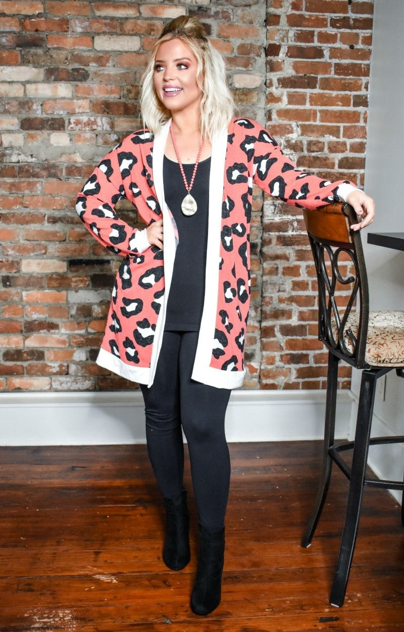 Made You Look Leopard Print Cardigan - Coral