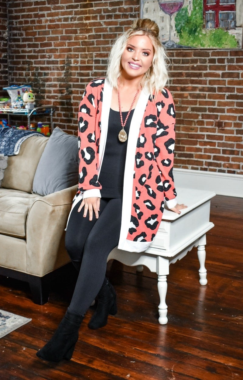 Load image into Gallery viewer, Made You Look Leopard Print Cardigan - Coral